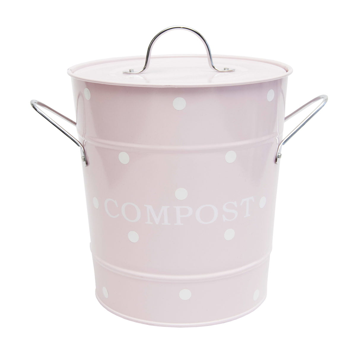 pink compost bin with white dots