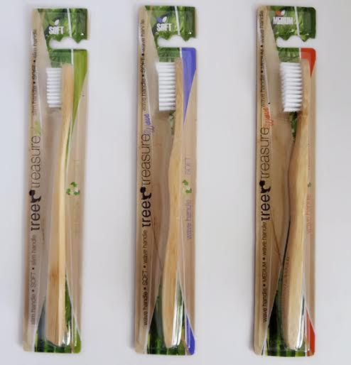 Bamboo toothbrush Tree Treasure slim handle SOFT - green packing
