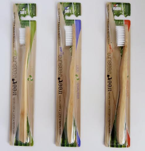 Bamboo toothbrush Tree Treasure wave handle MEDIUM – red packing