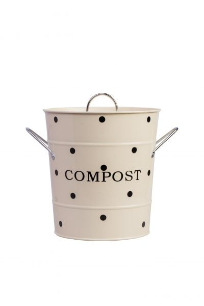 Beige compost bin with black dots