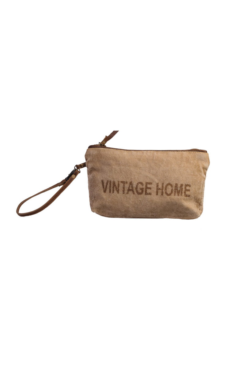 Beige pouch Vintage home canvas + leather
