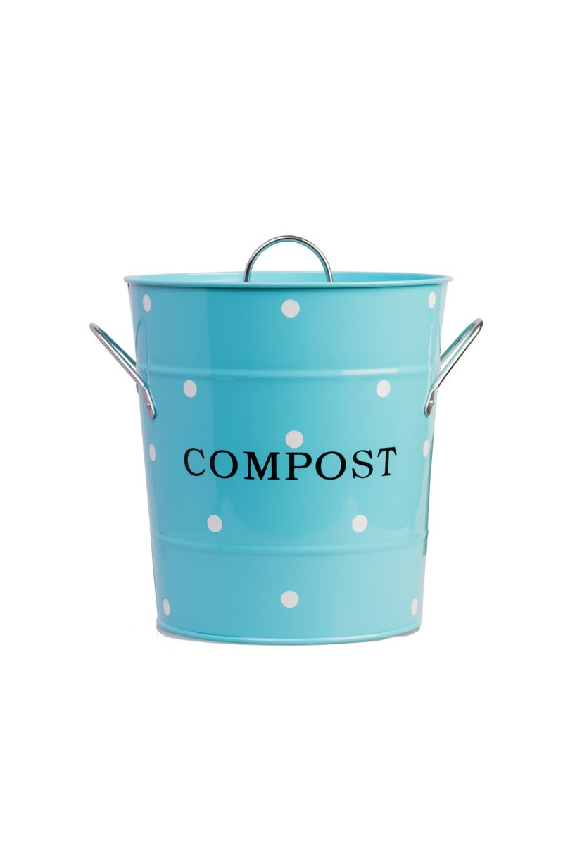 Blue compost bin with white dots