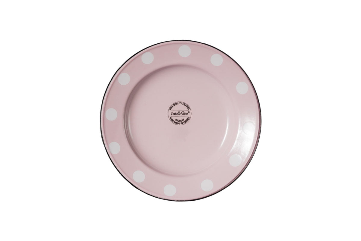 Dinner plate 24cm pink with dots