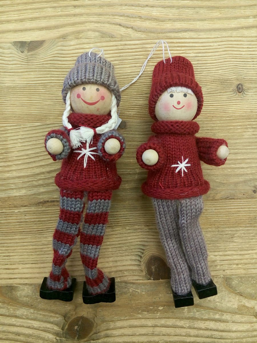 Girl & boy set of 2 - 18 cm