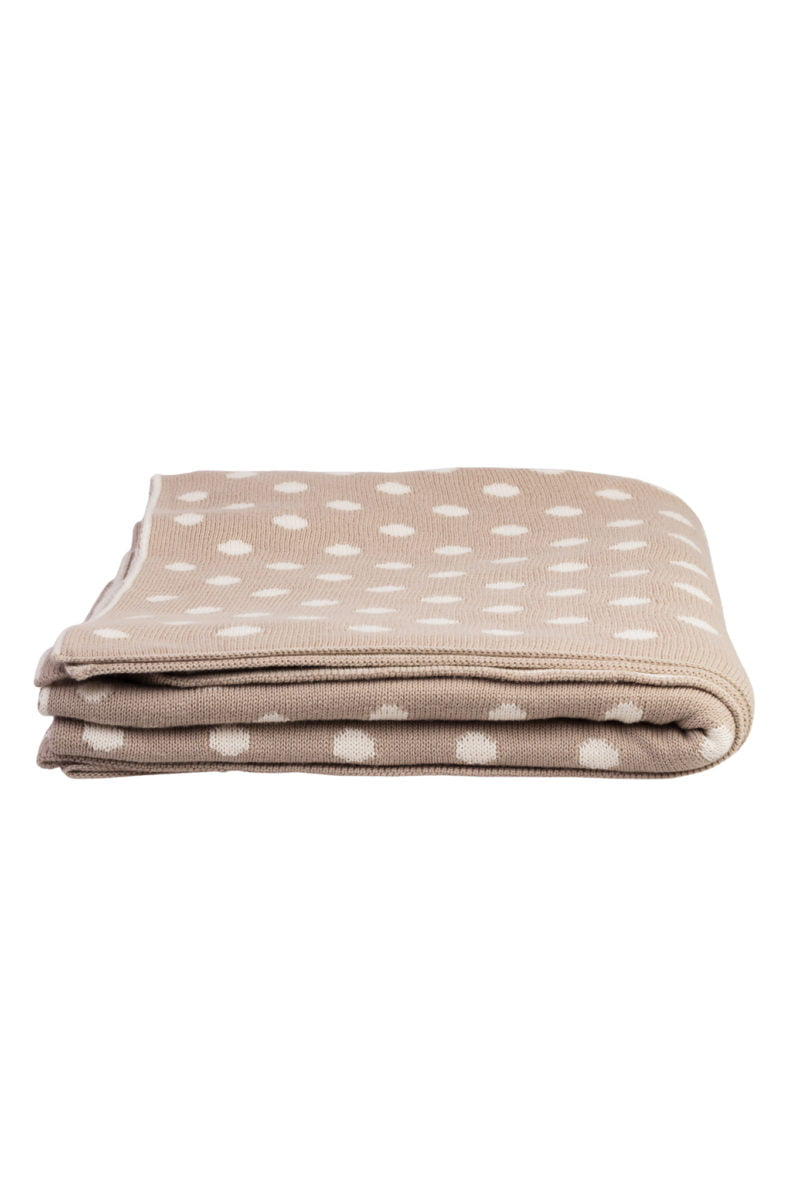 Knitted throw beige dots 125x150 cm