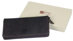 Leather wallet woman style with iron zipper
