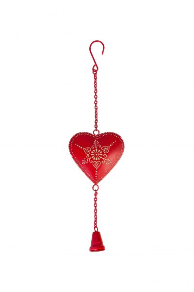 Metal heart with chain & bell