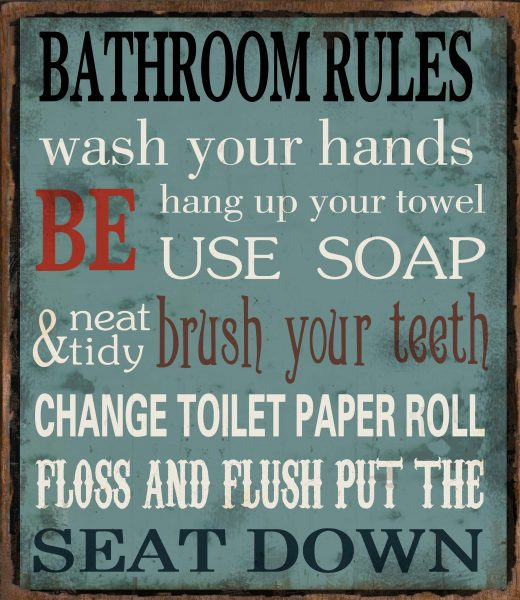 Metal sign Bathroom rules 30x26 cm