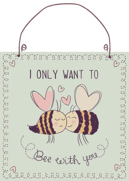 Metal sign Bee with you 20x20 cm