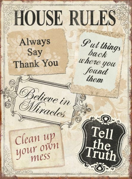 Metal sign House rules 35x26 cm