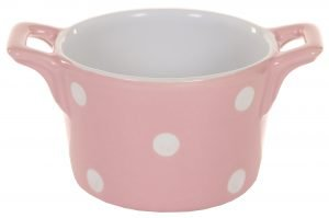 Pink ramekin with handles & dots Isabelle Rose