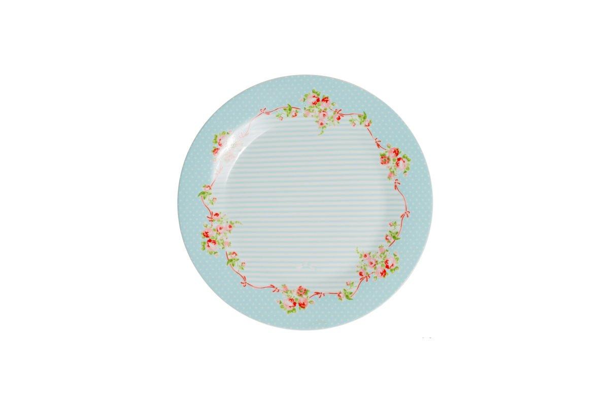 Porcelain big plate Azalea Rose decor 26