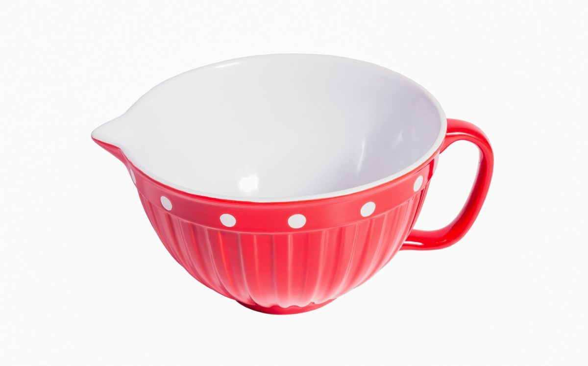 Red Batter Bowl With Handle Amp Dots Isabelle Rose
