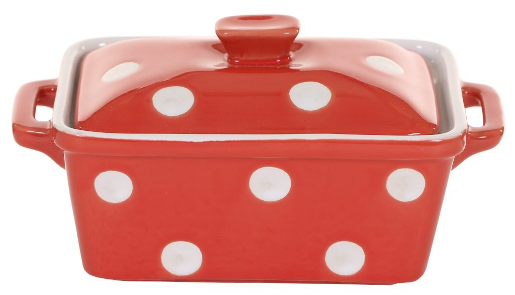 Red Butter Dish With Dots Isabelle Rose Isabellerose