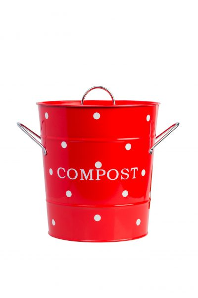 Red compost bin with white dots