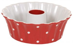 Red large round dish with dots Isabelle Rose
