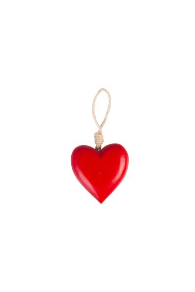 Wooden heart L red