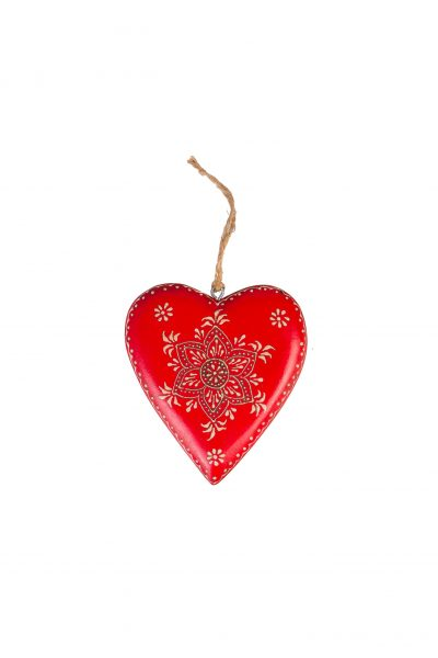 Wooden heart L with decor