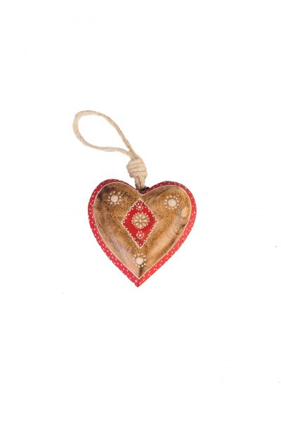 Wooden heart Natural with decor L