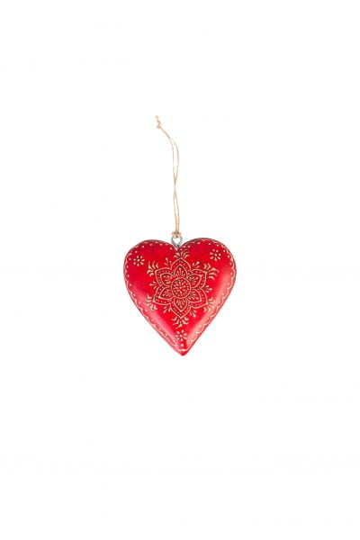 Wooden heart S with decor