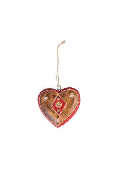 Wooden heart natural with decor S