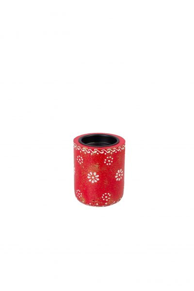 Wooden tealight red