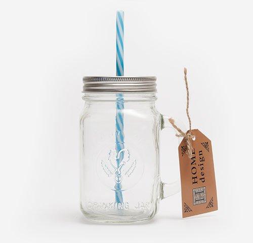 Mason jar with blue straw 470ml