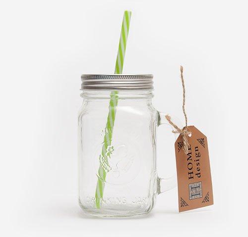 Mason jar with green straw 470ml