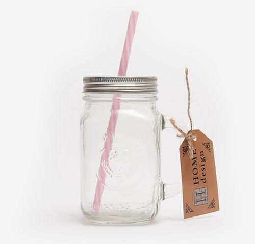 Mason jar with pink straw 470ml
