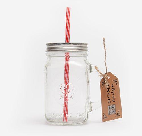 Mason jar with red straw 470ml