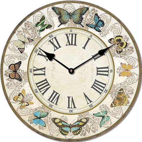 Wooden clock Butterflies 29 cm