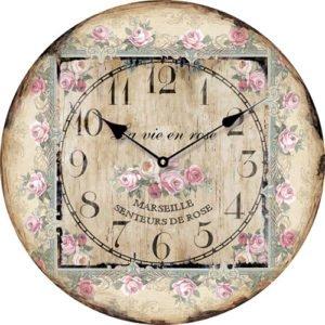 Wooden clock La vie en Rose 15 cm