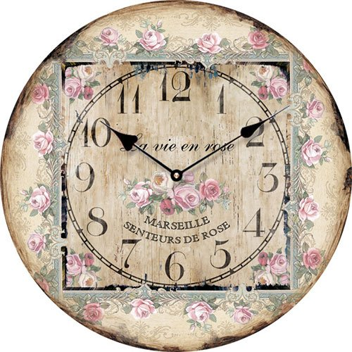 Wooden clock La vie en Rose 15 cm