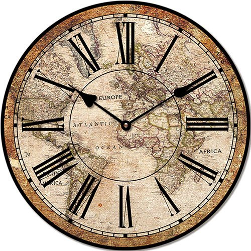 Wooden clock Old world 29 cm