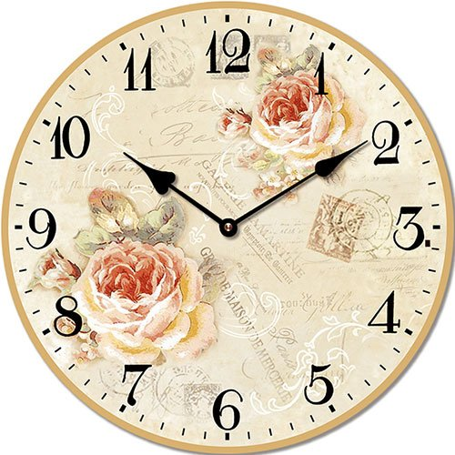 Wooden clock Spring roses 15 cm
