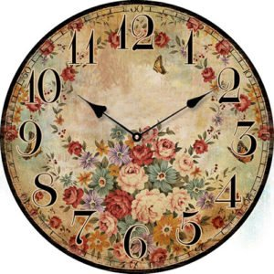 Wooden clock Vintage flowers 29 cm