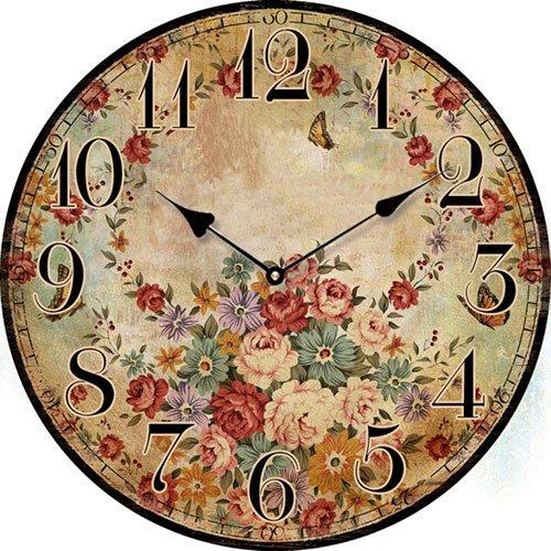 Wooden clock Vintage flowers 29 cm