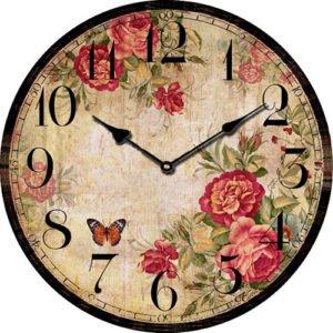 Wooden clock Wild roses 29 cm