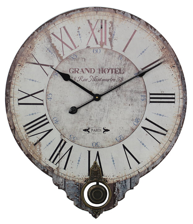 Wooden Pendulum Clock Grand Hotel 30x35 Cm Isabellerose